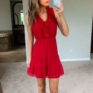 Anthropologie Greylin Red Ruffle Fit n Flare Dress